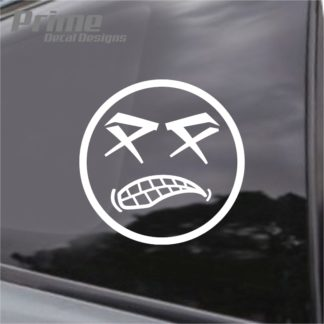 Angry Dead Eyes Cartoon Face Decal