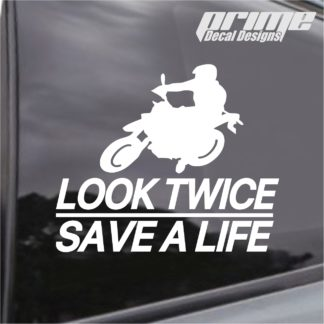 Look Twice Save A Life Motorcycle Decal